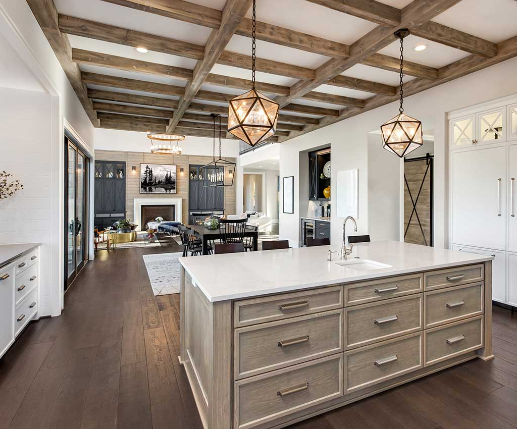 Stunning dining room and kitchen in new luxury home